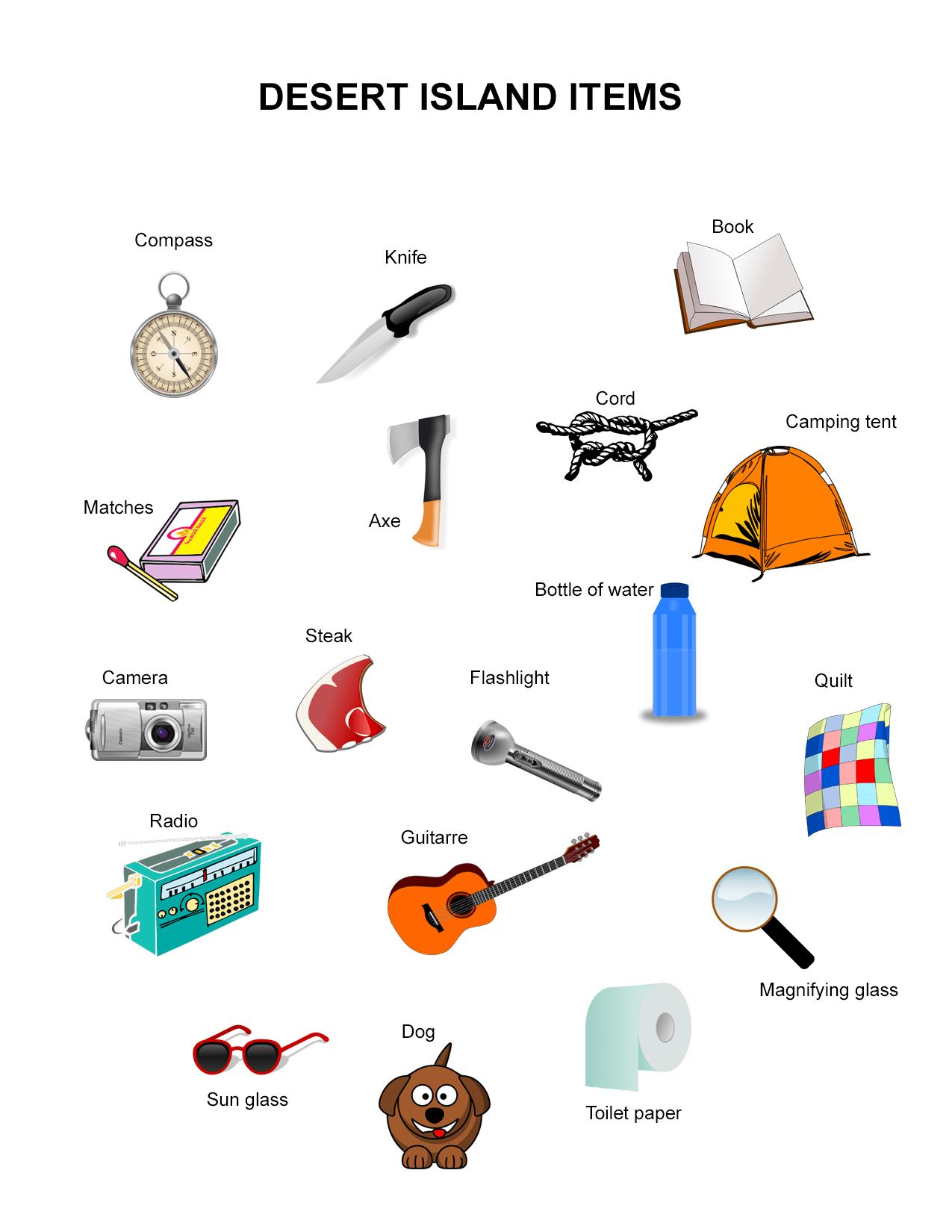 Survival Items Worksheet