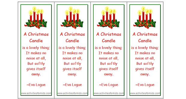 Christmas Bookmarks Activities For Kids