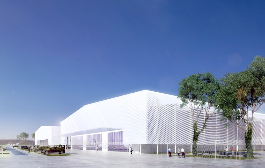 vue d'artiste de l'usine de fabrication de Dassault Reliance Aerospace Limited [DRAL] sur le site de Mihan