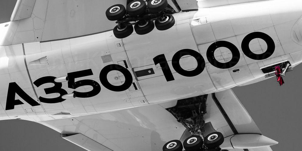 """A350-1000 à Toulouse Blagnac après ça certification, train sortie et RAT """"Ram Air Turbine"""" spéciale [F-WWXL / MSN 071] (c) Rami Khanna-Prade - Reproduction interdite"""