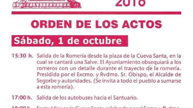 Cartel Romería Oficial de Segorbe a la Cueva Santa 2016