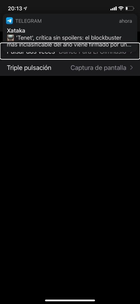Captura de pantalla en un iPhone con la opción tocar atrás