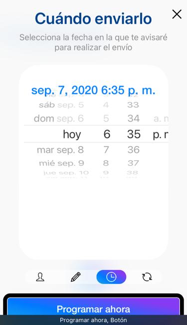 Se muestra la programación del mensaje. Complement: para whatsapp programa tus mensajes