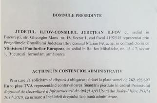 Consiliul Județean Ilfov a dat în judecată Ministerul Fondurilor Europene