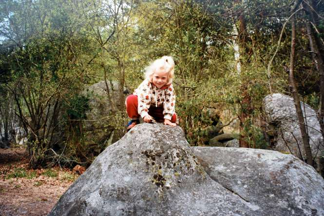 little Annaleid, rock climbing, outside, nature, rocks