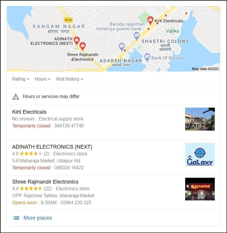 Google My Business Local Business Listing Example