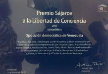 Placa conmemorativa Premio Sájarov 2017