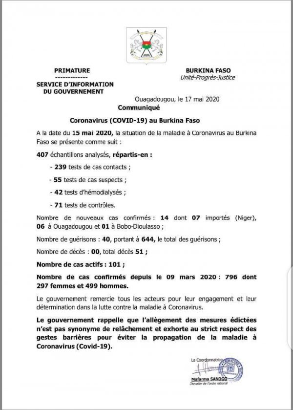 COVID-19: Le Burkina Faso enregistre 14 cas dont 7 importés du Niger