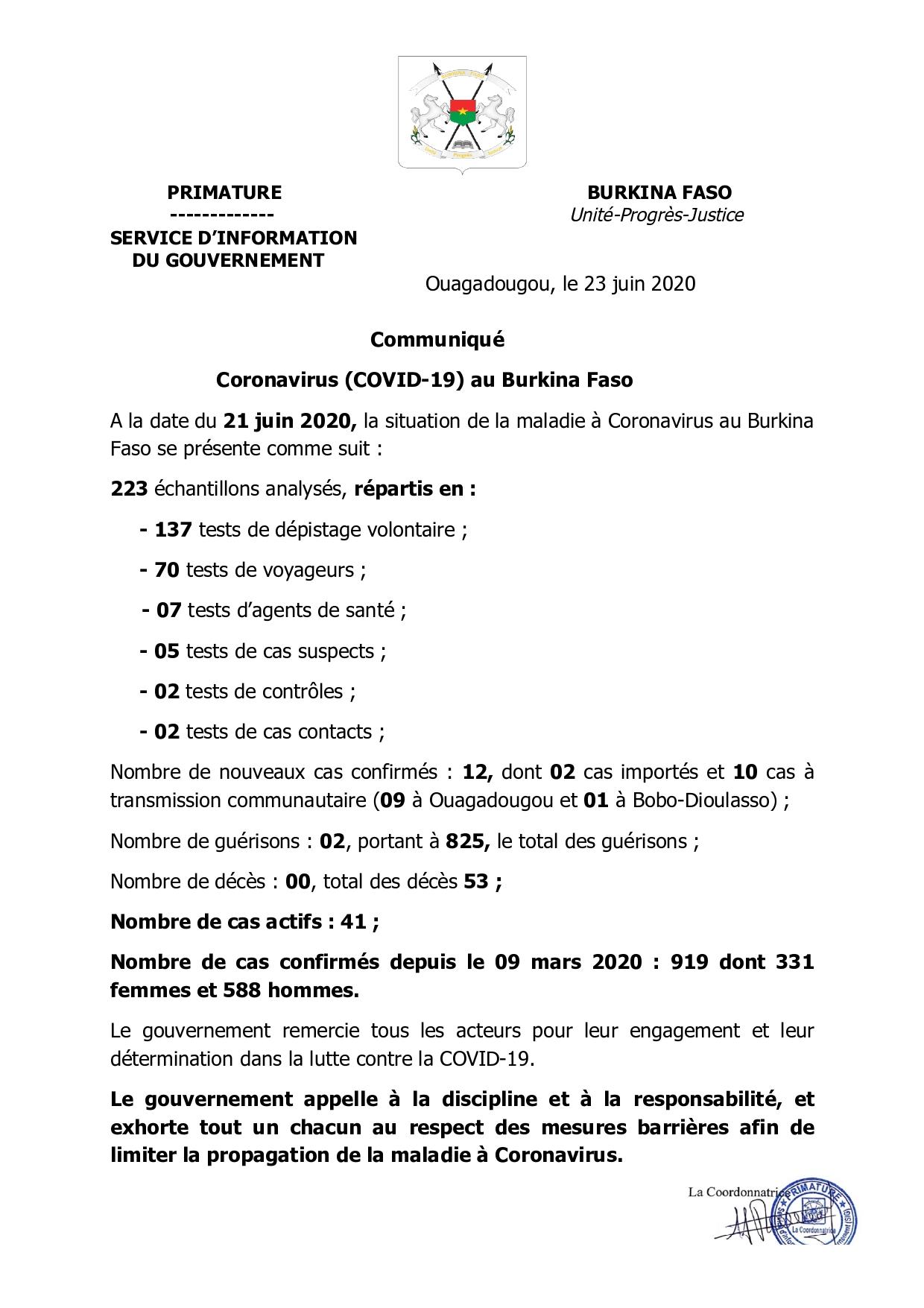 COVID-19 AU BURKINA: 12 nouveaux cas et 2 guérisons à la date du 21 juin