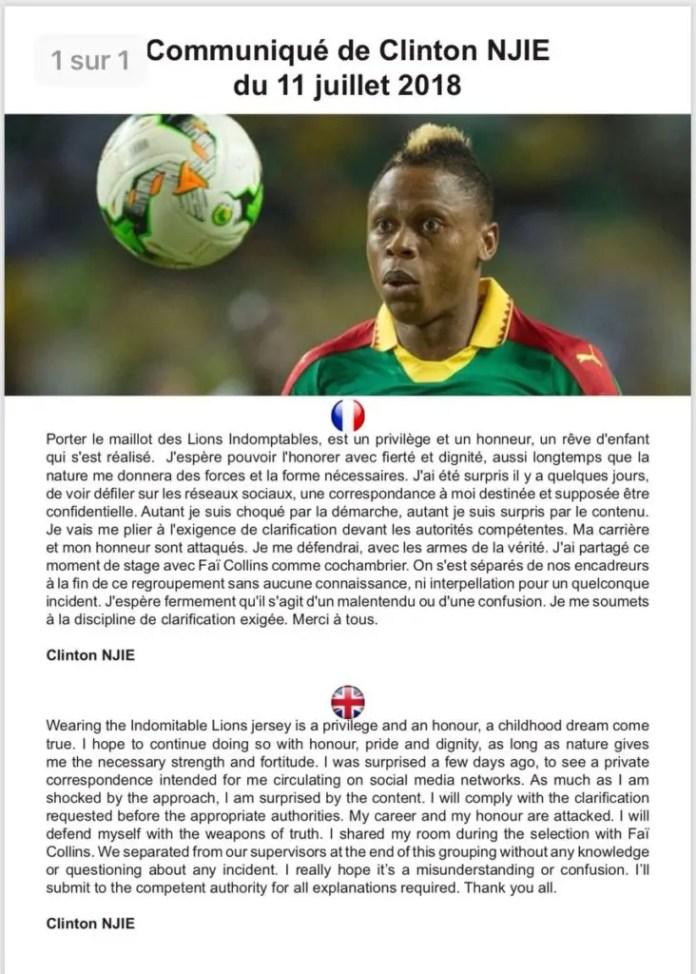 Cameroun/Affaire « scandale sexuel». de Njié Clinton: le footballeur réagit !