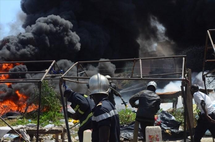 Incendie au marché Petersen de Dakar