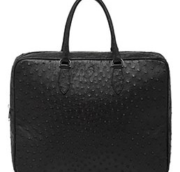Mulberry Tony Black Ostrich - This modern briefcase designed with simple, streamlined shape and minimal hardware. Features two rounded leather handles and zip closure. The interior has space for documents, small accessories and a laptop or other technology in the padded section