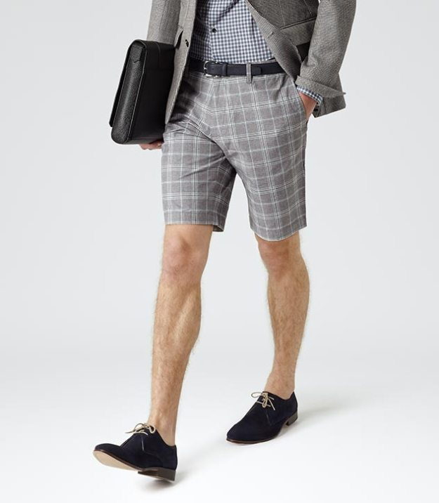 Reiss grey check shorts 243010-23-5