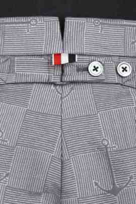 Thom Browne light grey cotton-blend anchor- and check- jacquard Bermuda shorts 503206190_product_3