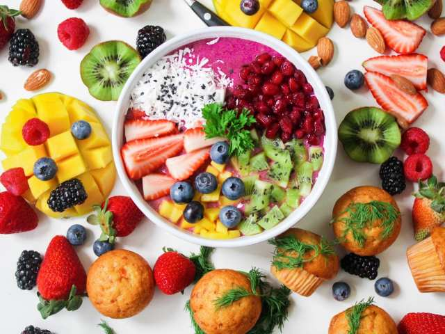 Bowl of colorful fruit