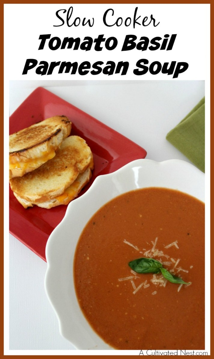 A bowl of hot soup on a cold day is heaven! If you're looking for an easy, hearty soup recipe, you've got to make this slow cooker tomato basil Parmesan soup!