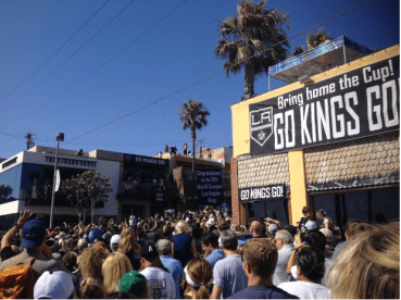 Go Kings Go signs in Manhattan Beach during the Stanley Cup Parade for the Los Angeles Kings