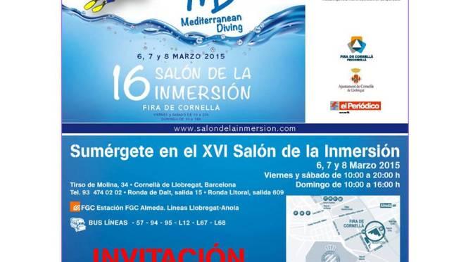 Guarda e imprime esta Invitación para entrar GRATIS al Mediterranean Diving, 16 Salón de la Inmersión, Fira de Cornellà – Barcelona
