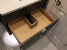 Specialty vanity drawer with notch