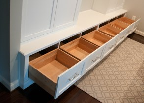 200 five large mud room drawers open