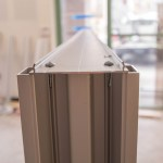 """Close-up Of Commercial Glass Store 1 3/4"""" by 4 1/2"""" Aluminum Frame"""