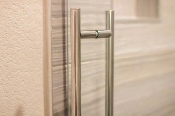 Skyline Glass Shower Door - Close-up Metal Handle