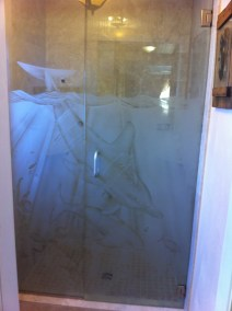 Dolphin Etched Custom Shower Door Enclosure System - A Cutting Edge Glass & Mirror