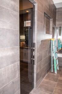 Dark Grey Custom Shower Door y A Cutting Edge Glass & Mirror