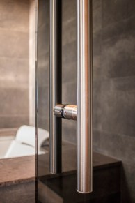 Close-up Dark Grey Shower Door Enclosure