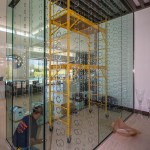 Right Side View of Custom Wine Cellar - A Cutting Edge Glass and Mirror