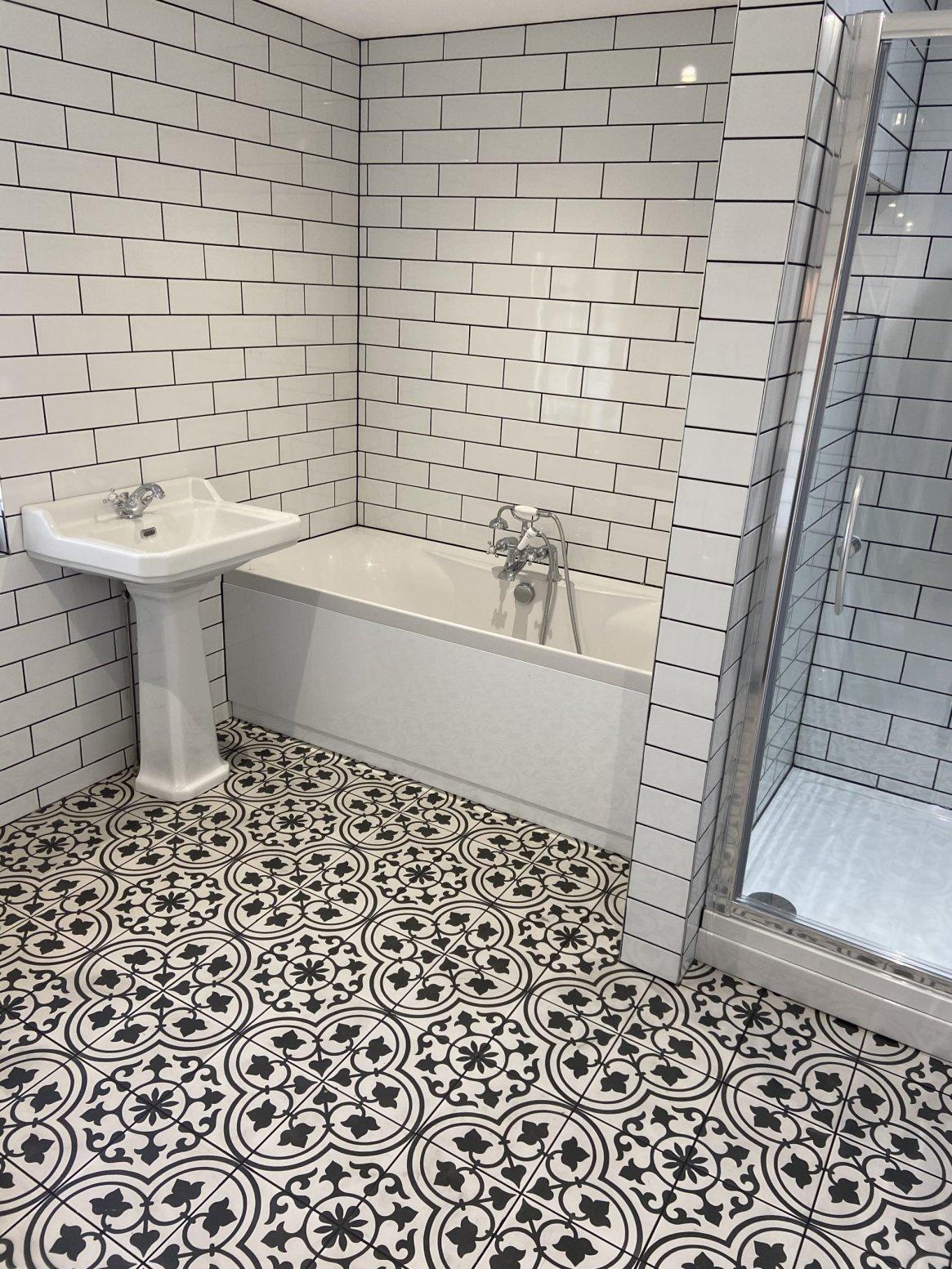 black white tiled bathroom St Ives