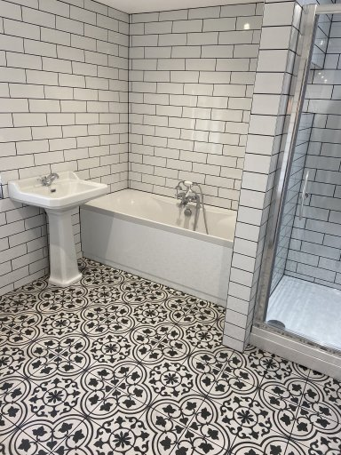 black white tiled bathroom St Ives