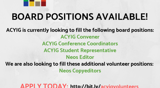 ACYIG BOARD POSITIONS AVAILABLE!