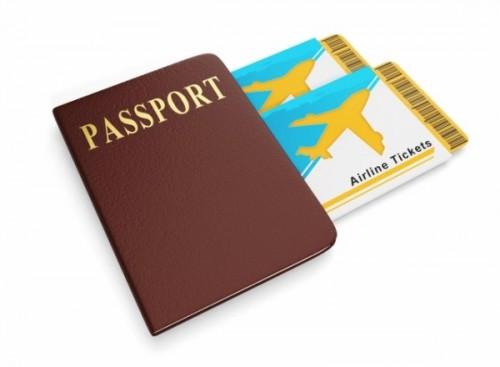 茶色のパスポートとエアチケットのイラスト