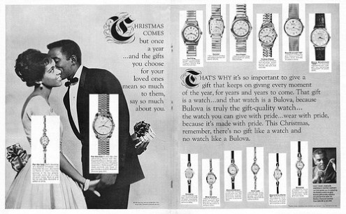 photo credit: 1962 Christmas Ad, Bulova Watches, Romantic, Elegant Couple in Evening Wear (2-page advert) via photopin (license)