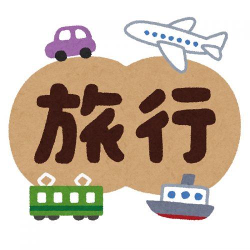 車と飛行機と電車と船に囲まれた「旅行」の文字