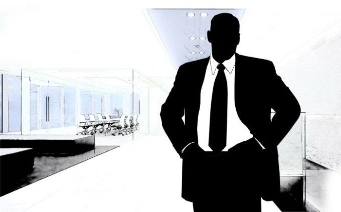 シルエット姿のビジネスマン