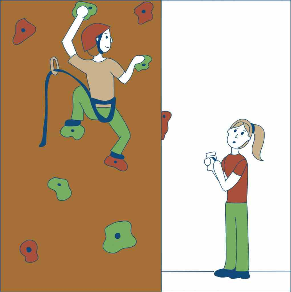 Ad Esse - rock wall climbing illustration - skills transfer