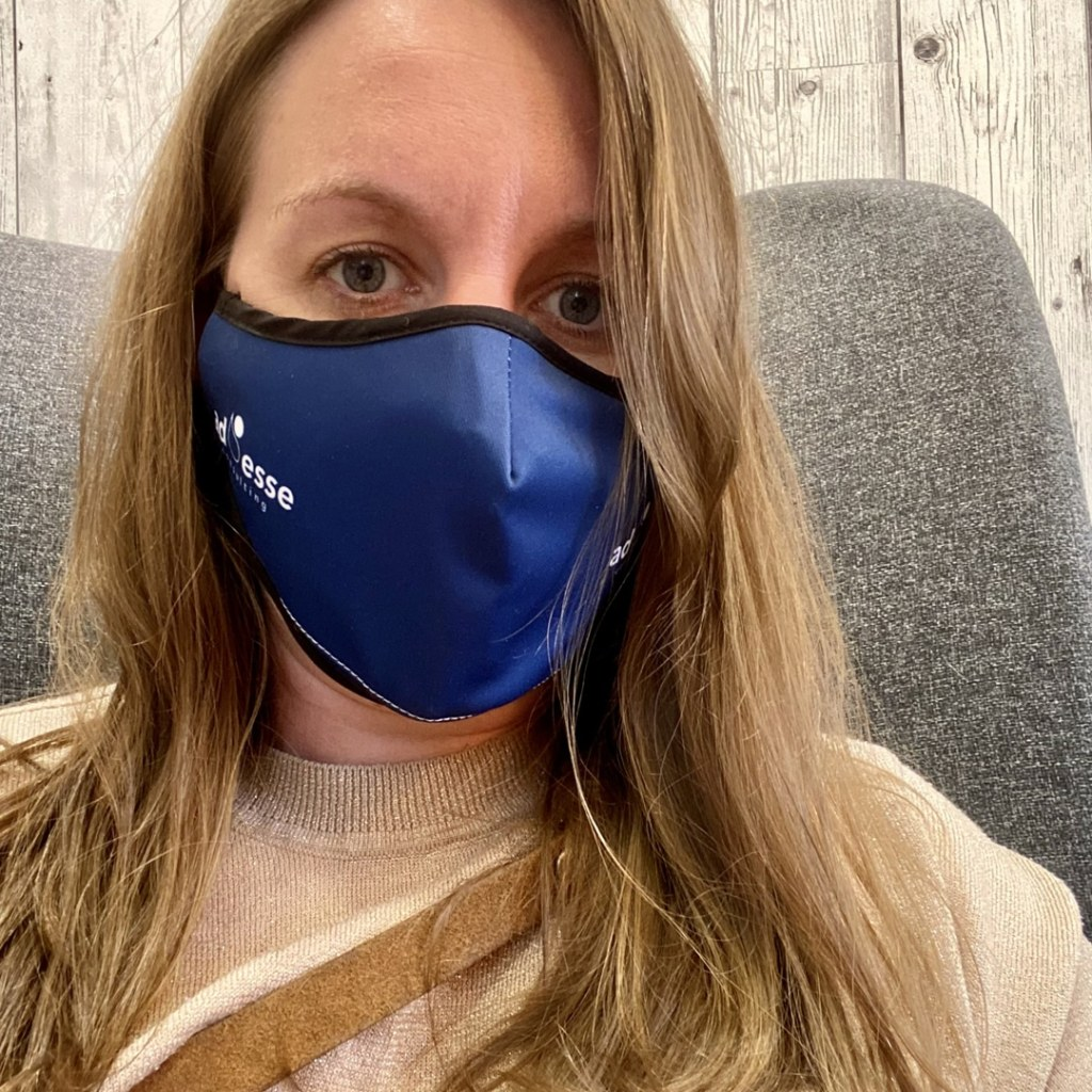 Ad Esse Consulting mask selfie by Becky Mitchard, Consultant