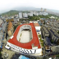 The Tiantai #2 Primary School...WITH A TRACK ON THE ROOF!