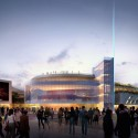 Arte Charpentier Architectes Unveils Plans for Calais Congress Centre Exterior plaza at night. Image © Arte Charpentier Architectes