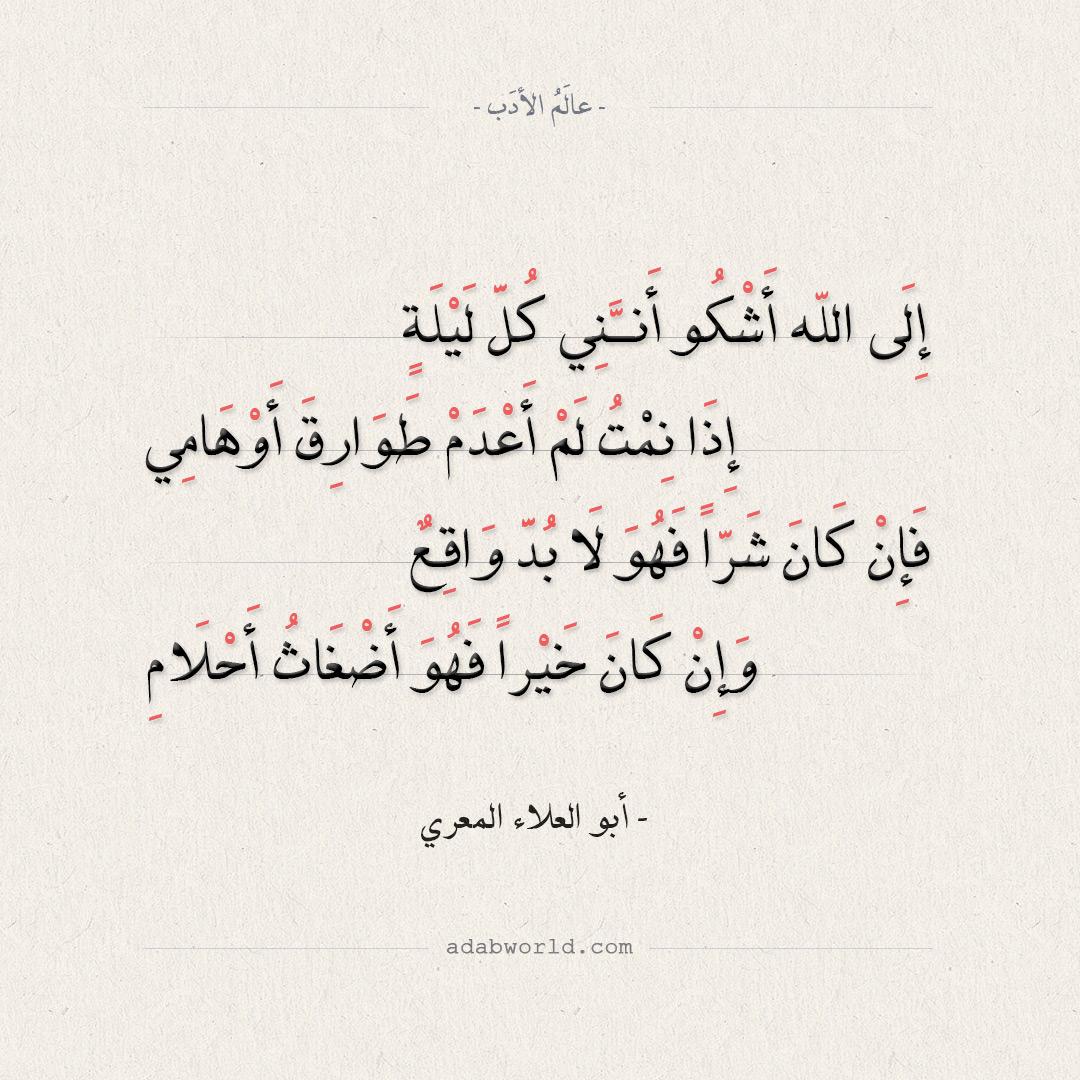 شعر أبو العلاء المعري - إلى الله أشكو أنني كل ليلة