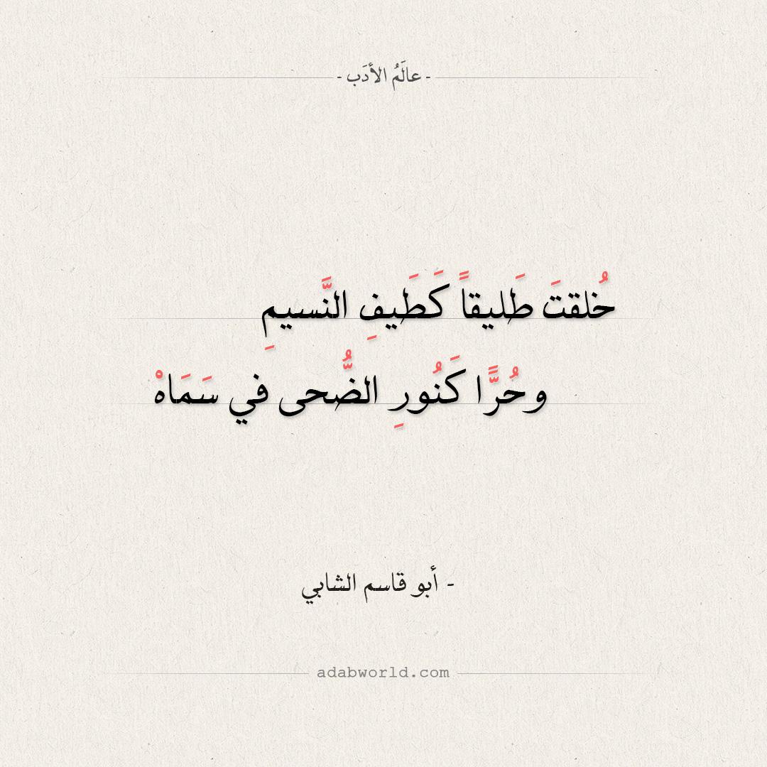 خلقت طليقا كطيف النسيم - أبو قاسم الشابي