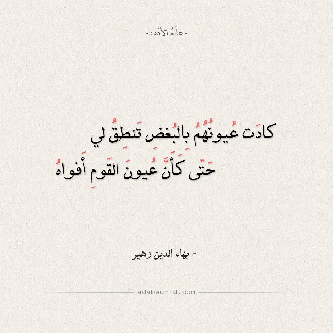 شعر بهاء الدين زهير - كادت عيونهم بالبغض تنطق لي