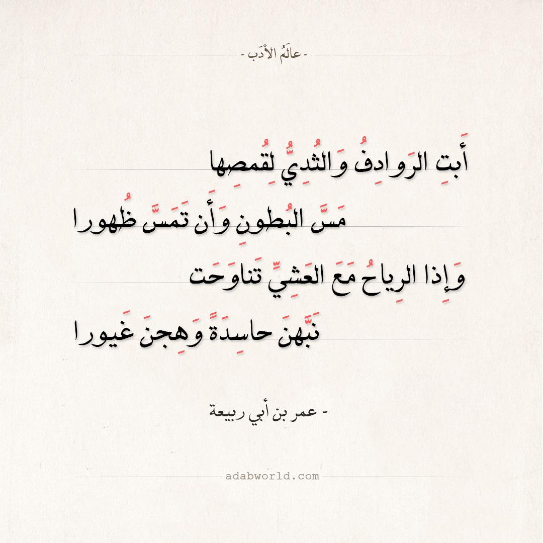 شعر عمر بن أبي ربيعة - أبت الروادف والثدي لقمصها