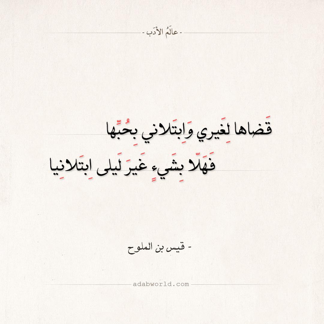 شعر قيس بن الملوح - قضاها لغيري وابتلاني بحبها