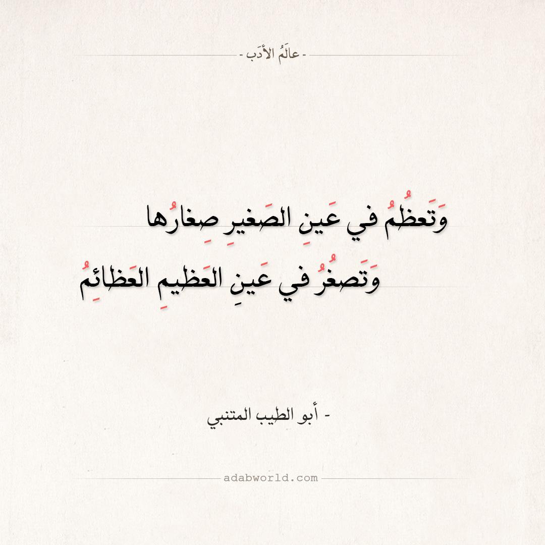 وتعظم في عين الصغير صغارها - أبو الطيب المتنبي