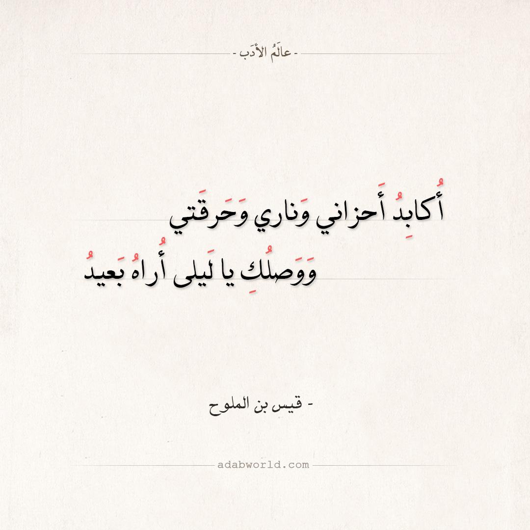 شعر قيس بن الملوح - أكابد أحزاني وناري وحرقتي