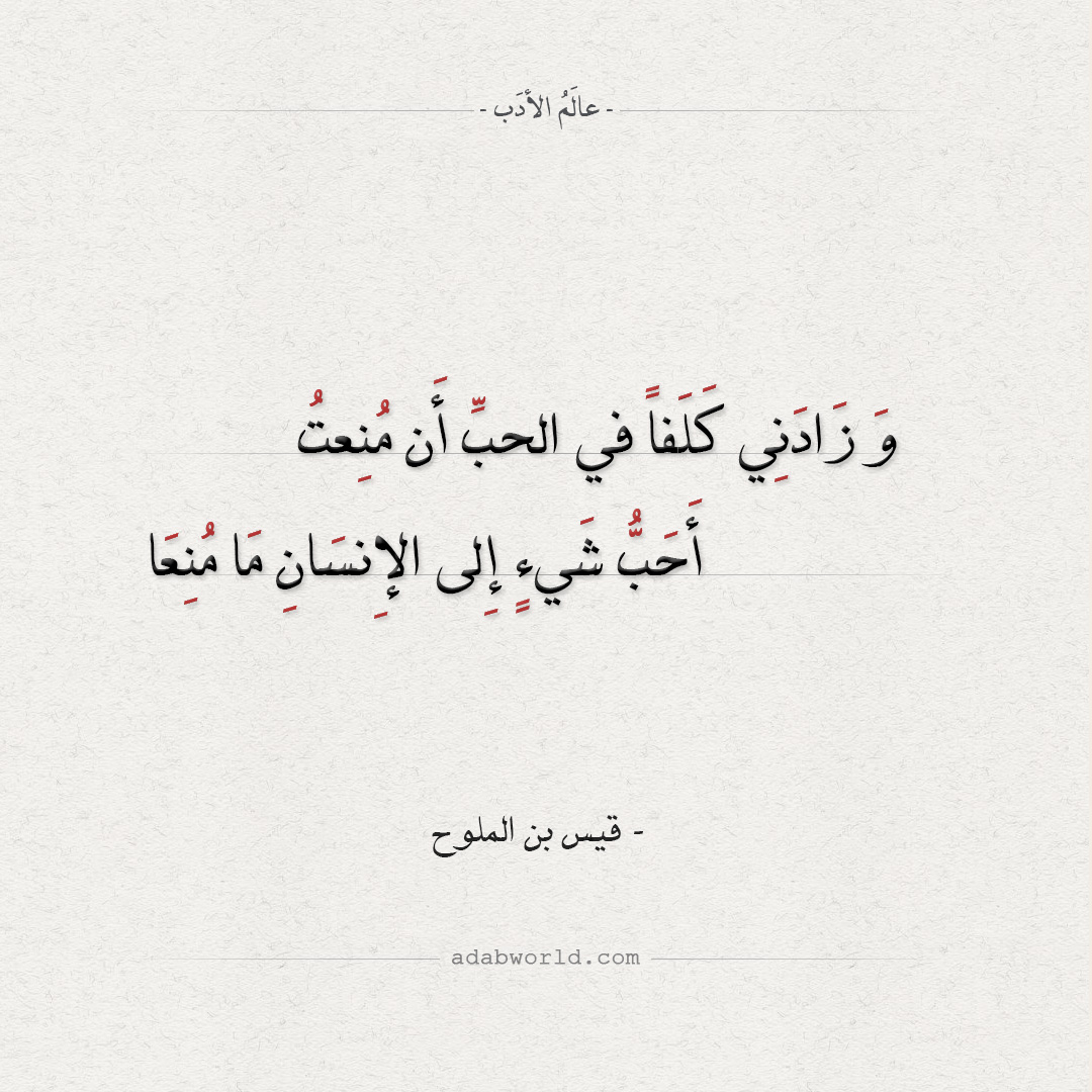 وَ زَادَنِي كَلَفاً - من اجمل ابيات شعر الغزل لـ مجنون ليلى