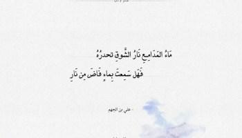 شعر علي بن الجهم - ماء المدامع نار الشوق تحدره